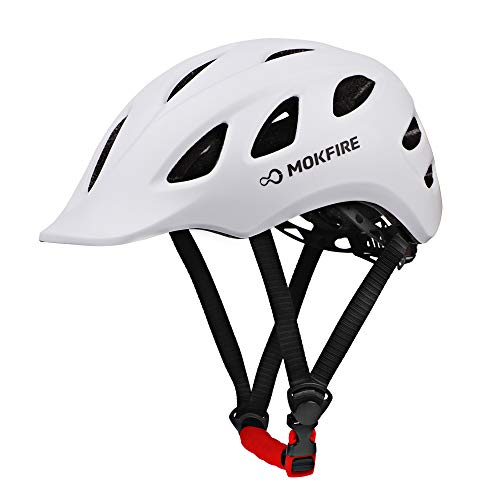 MOKFIRE Adult Bike Helmet Adjustable Lightweight Urban Casual Commuter Cycling Bicycle Helmet for Women and Men - Size (22.44-24.01 Inches) -White