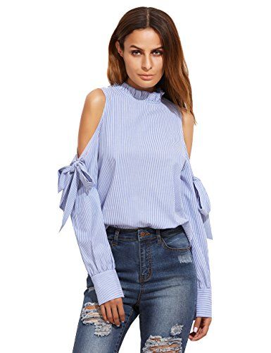 SheIn Women's Striped Ruffle Stand Collar Cold Shoulder Blouse Large Blue
