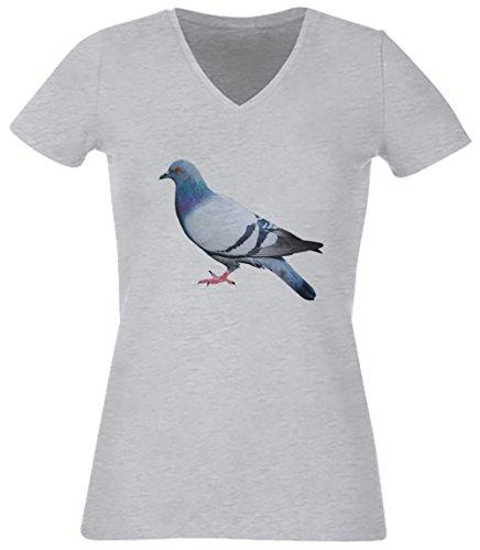 Pigeon Gris Coton Femme V-Col T-shirt Manches Courtes Grey Women's V-neck T-shirt