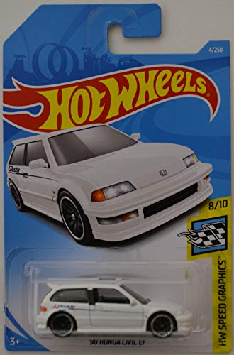 Hot Wheels 2019 Hw Speed Graphics 8/10 - '90 Honda Civic EF (White)