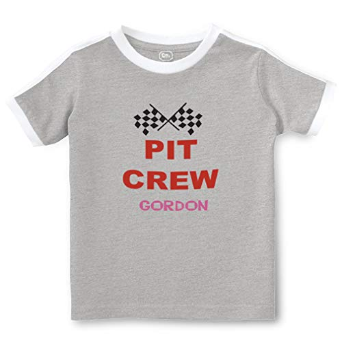 Personalized Custom Sports Pit Crew Short Sleeve Crewneck Boys-Girls Toddler Cotton Soccer T-Shirt Sports Jersey - Oxford Gray, 4T