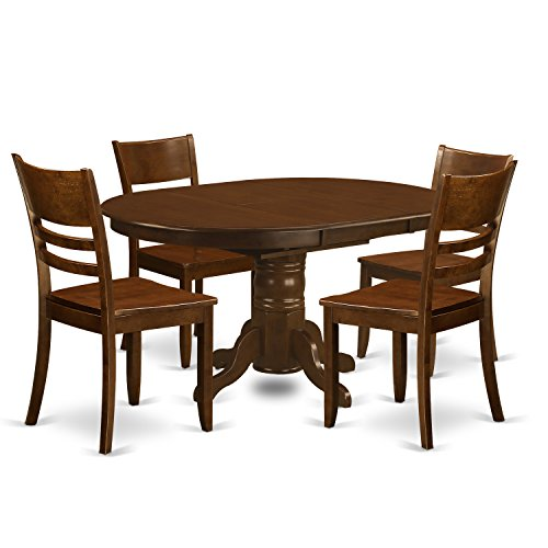 East West Furniture KELY5-ESP-W 5 Piece Kenley Dinette Table with One 18In Leaf and 4 Solid Wood Seat Chairs in Espresso