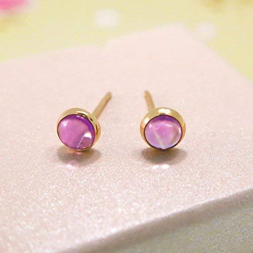14K Gold Amethyst Stud Earrings - 14K Solid Yellow Gold, Tiny 4mm Stone, February Birthstone, Genuine Purple Amethyst Natural Real Gemstone - Dainty Handmade Jewelry Gift for Girls and ()