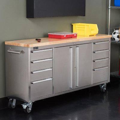 Stainless Steel Rolling Rubberwood Top Workbench