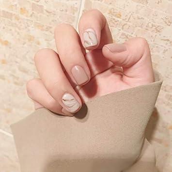 Amazon.com : False Nail Tips 24pcs Khaki Marble Texture Fake Nails ...