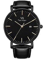 Vigor Rigger Unisex Voll Schwarz Klassische Quarz Armbanduhr Grau Analoges Zifferblatt mit Datumsfenster Echtes Lederband