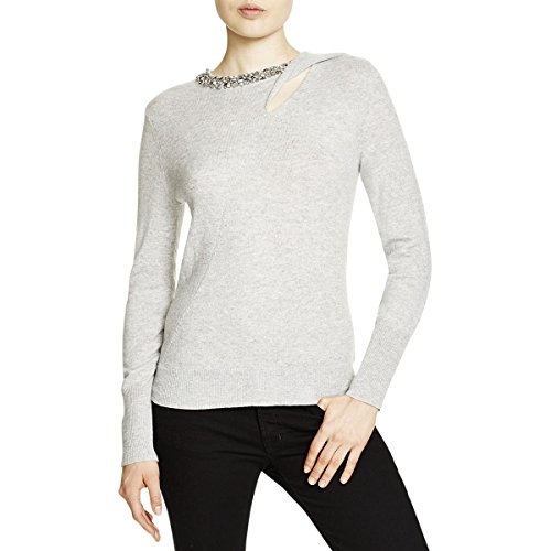 Magaschoni Womens Sweater (Magaschoni Womens Cashmere Embellished Pullover Sweater Gray XL)