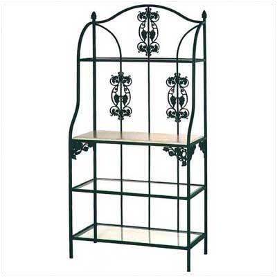 Grace Vineyard Bakers Rack (Vineyard Baker's Rack Finish: Antique Bronze, Wood Finish: Bleached, Shelf Material: 4 Wood Shelves)