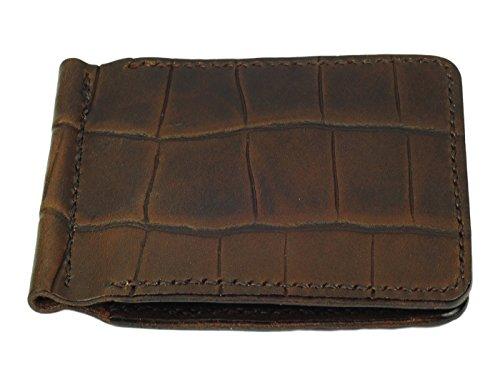 Grain Handmade Brown Clip Crocodile Brown Wallet Leather Money Brown wfIOqUf
