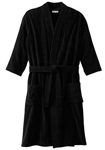 Tall Terry Cloth Robes (Kingsize Men's Big & Tall Terry Velour Kimono Robe, Black Tall-2Xl/3X)