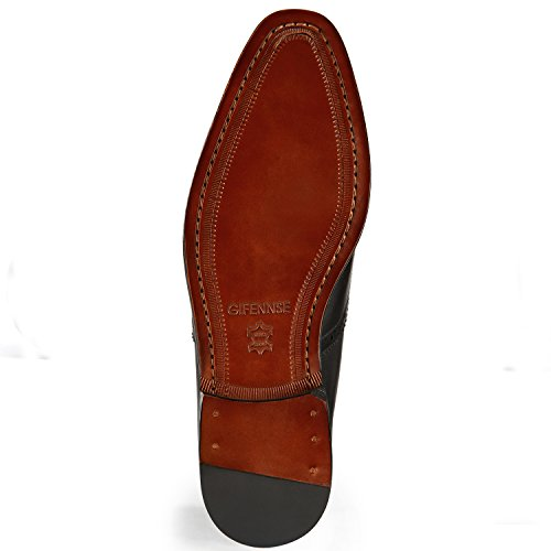 Gifennse Heren Handgemaakte Lederen Zool Modern Klassieke Lace Up Leder Bekleed Geperforeerde Jurk Oxford Schoenen Zwart-1