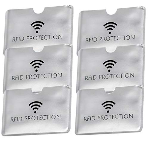 RFID Blocking Secure Credit Card ID Anti Theft Waterproof Protector Sleeves Smart Slim Design Perfectly fits Wallet/Purse (Gray-Horizontal, 6PCS) (Credit Card Machine Attached To Cell Phone)