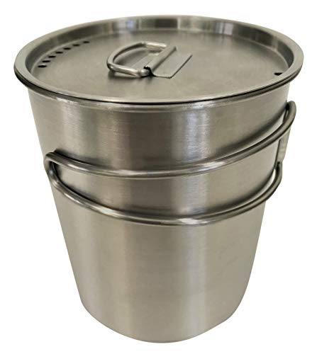 DZO Stainless Camping Backpacking Cup/Pot with Vented Lid, Folding Handles and Measurement Marks - 25 oz/740 ml size
