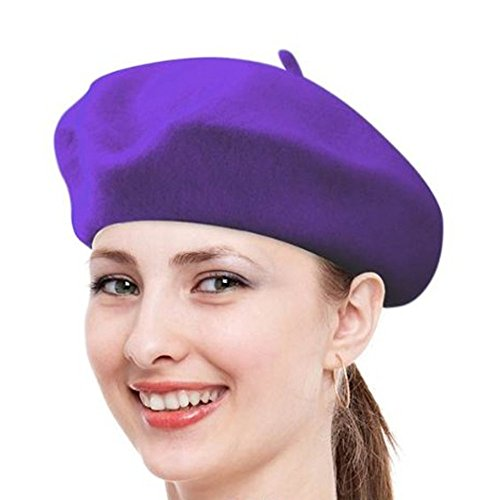 FuzzyGreen Classic French Beret, Purple Solid Color French Wool Beret - 2017 (Wool Fashion Beret)