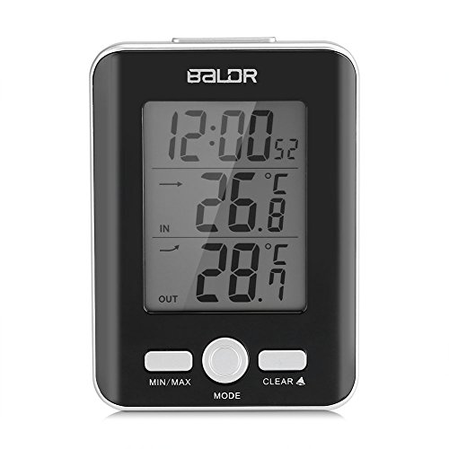 Zerodis LCD Digital Thermometer Clock Indoor Outdoor Temp Display with Wired Probe Sensor (Black) by Zerodis