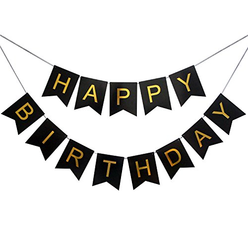 LOVELY BITON Large Black Happy Birthday Wall Banner, Black Party Decorations, Versatile, Beautiful, Swallowtail Bunting Flag Garland Surprise Ideas -