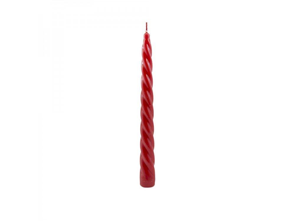 GIRM® - HX924180 Candela torciglione laccata rossa cm 24. - Candele da tavola per feste. Candele colorate per Natale . Cero colorato AB.M