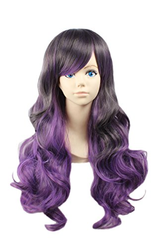 [Angelaicos Women's Heat Friendly Lovers Lolita Curly Gradient Color Highlights Halloween Cosplay Costume Party Sexy Wigs (Wavy Long] (Long Sexy Wigs)