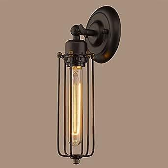 CLAXY Vintage Metal Lámpara de Pared en forma de Jaula Aplique Industrial Edison Lámpara de Alambre de Hierro