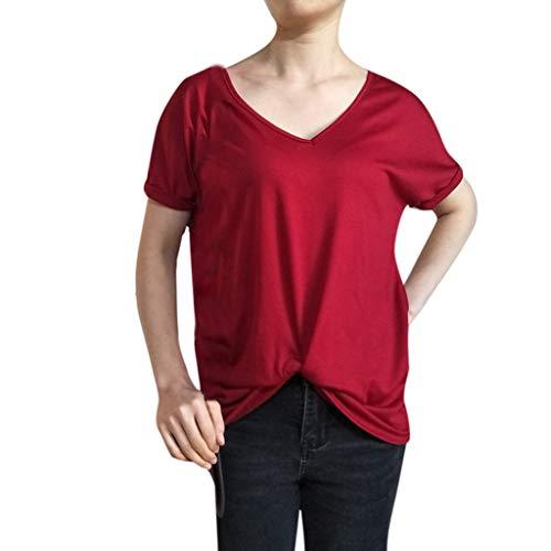 Cotone shirt San Donna Shirt Estate Ihengh Casual Nero Camicetta Valentino Blouse Primavera Manica Semplice Moda Top Rosso T Girocollo Per Poliestere Bianco Corta BoCWrdxeQ