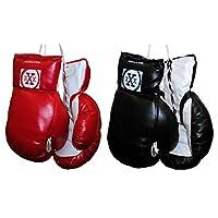 2 pares de guantes de boxeo juveniles rojos y negros de 10 oz punzonado