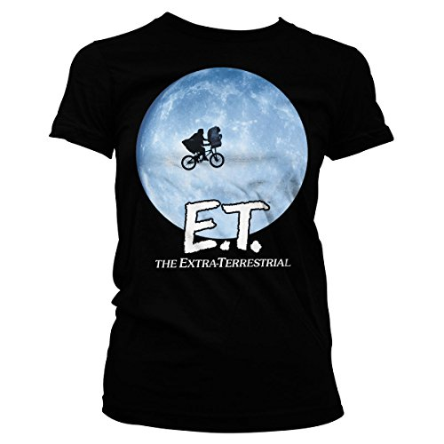 E.T. Bike Officially Licensed in The Moon Women T-Shirt (Black), Small -