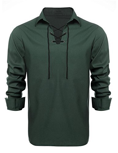 Men Long Sleeve Shirt, Scottish Jacobite Ghillie Kilt Shirt with Lace Up Front(L, Deep Green) Solid Kilt