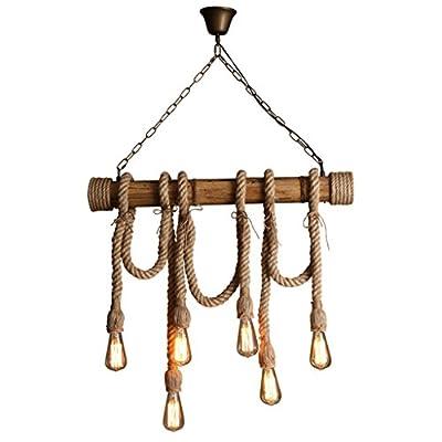 Retro Hemp Rope Chandelier, Loft Bar Clothing Store Cafe Restaurant Bar Bamboo Tube Lamps And Lanterns 6 Head E27, 100 60cm Hanging Chain 100cm Adjustable ( Size : 10060cm )