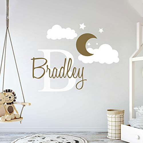 Custom Name & Initial Moon Clouds Stars - Baby Boy - Nursery Wall Decal for Baby Room Decorations - Mural Wall Decal Sticker for Home Children's Bedroom (MM109) (Wide 42