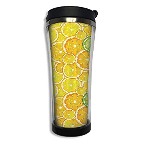 Stainless Steel Insulated Coffee Travel Mug,Spill Proof Flip Lid Insulated Coffee cup Keeps Hot or Cold 14.2oz(420 ml)Customizable printing byYellow Decor,Lemon Orange Lime Citrus Round Cut Circles Bi