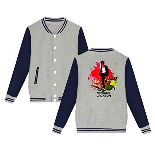 Michael Jackson Mens & Womens Casual Style Hoodie Baseball Uniform Jacket Sport Coat Gray]()