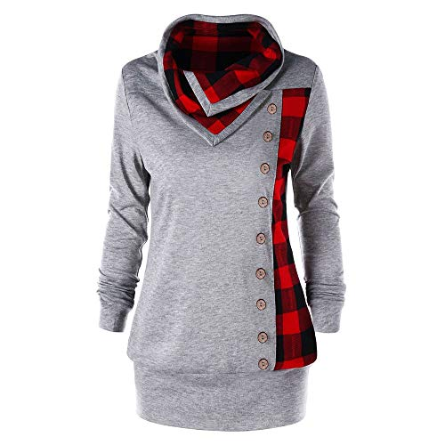 (Rosegal Women's Plus Size Cowl Neck Single Breasted Long Sleeves Plaid Sweatshirt(Gray,4XL))