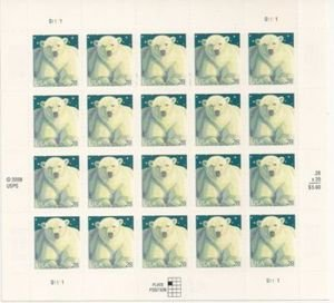 Polar Bear Sheet of Twenty 28 Cent Stamps Scott 4387 ()