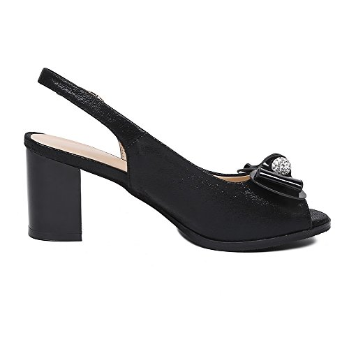 Sandals Women's Frosted Heels High AgooLar Toe Peep Buckle Solid Black UP8Bnq1x