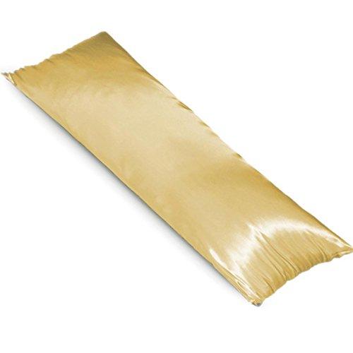 TAOSON New Silky Soft Satin Body Pillowcase Full Long Pillow Cover Cushion Cover 48x150cm Multiple Colors (48x150cm, Gold)