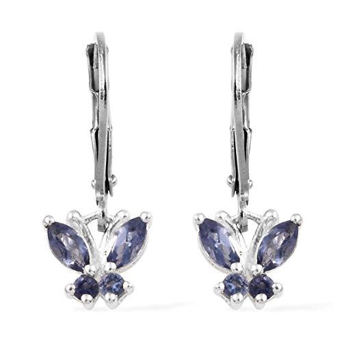 925 Sterling Silver Iolite Blue Butterfly Leverback Drop Dangle Earrings for Women Ct 0.5