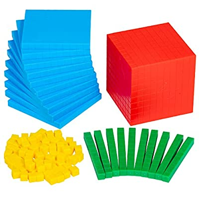 Edx Education Four Color Plastic Base Ten Set - in Home Learning Manipulative for Early Math - Set of 121 - Teach Kids Number Concepts, Place Value and Volume: Industrial & Scientific