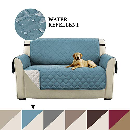 (Turquoize Luxurious Plush Reversible Quilted Furniture Protector, Stay in Place Microfiber Stain Resistance Sofa Slipcover for Pets/Dogs/Cats (Love Seat: Stone Blue/Beige) - 75 inches by 90 inches)