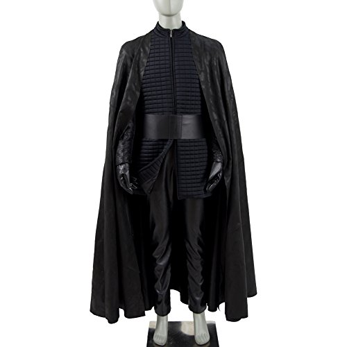 Layers Kylo Ren Costume (Kylo Ren Cosplay Costume Halloween PU Outfits with Cloak for Men)