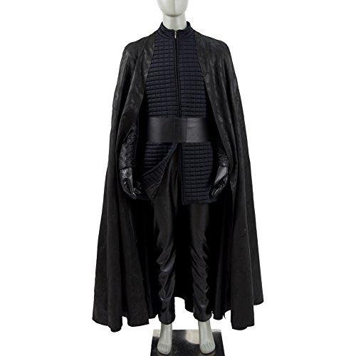 Knights Black Halloween Cosplay Costume Tunic Robe Cape Uniform Full Set (Man-M, Black)