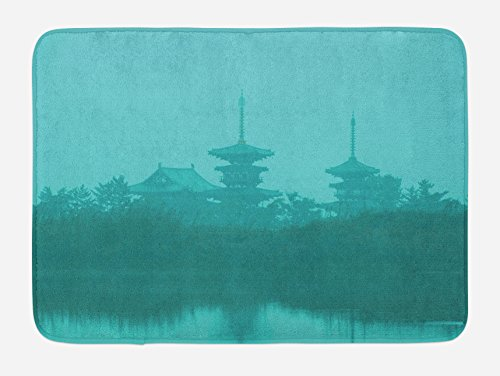 Ambesonne Asian Bath Mat, Various Temples above the Sea Tank in Fog Symbolic Faith Custom Pagoda Monochrome, Plush Bathroom Decor Mat with Non Slip Backing, 29.5 W X 17.5 W Inches, Turquoise by Ambesonne