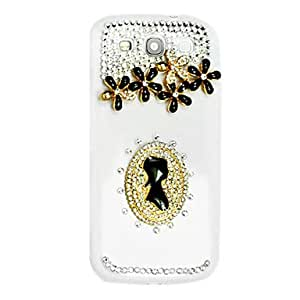Portrait and Flower Pattern Hard Case with Rhinestone for Samsung Galaxy S3 I9300