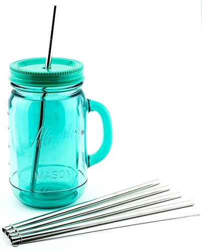 4 Pack Cocostraw for Aladdin Mason Jar 32 oz Tumbler PerfectFIT 18/8 Stainless Steel Drinking Straws With Cleaning Brush ()