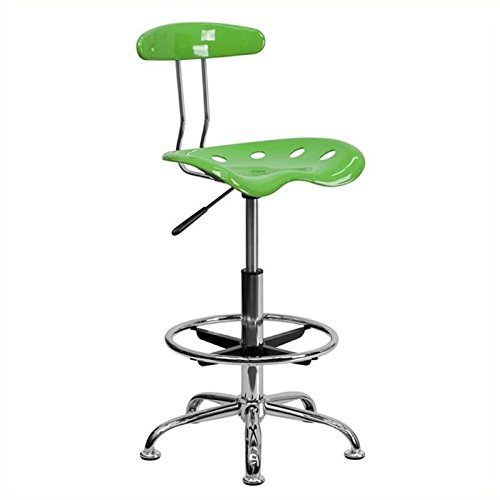 Scranton and Co Adjustable Chrome Drafting Chair in Lime