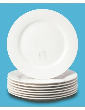 (Thompson Pottery 8 Piece Basic Dinner Plates, White)