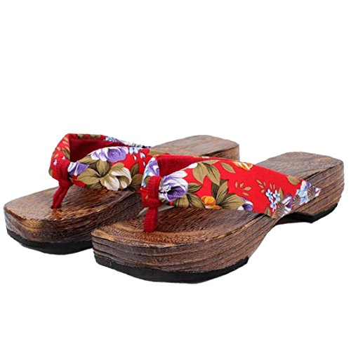 Ainiel Woman's Japanese Traditional Clogs Geta Sandals (36 (US5.5), Red)