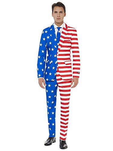 Suitmeister USA Suit with American Flag Print for Men Coming with Pants, Jacket & Tie - Perfect for 4th of July
