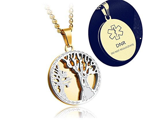 Death With Dignity DNR Necklace for Adults Men Women DO NOT RESUSCITATE Stainless Steel Medical Alert Engraved Tree of Life Pendant,Gold by Comfybuy