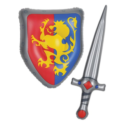 Beistle 57883 Inflatable Sword and Shield Set, 25-Inch and 15-Inch, Multicolored