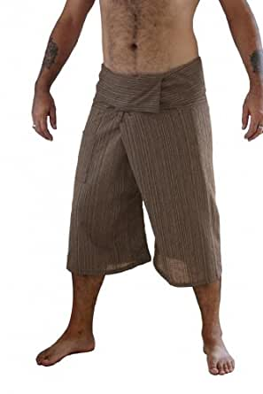 Siam Secrets 100% Cotton Pinstripe 3/4 Capri Thai Fisherman Pants Plus Khaki